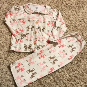 Carters 2 pc flannel deer pajamas 3t